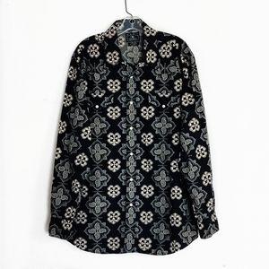 Lucky Brand Western Pearl Snap Button Up Shirt XL